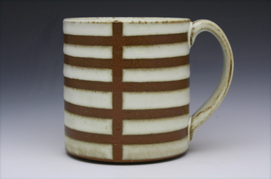 Stripe Patterned Mug - Criss Cross White & Brown