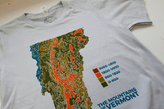 Vermont State Topographical Map Tee - Unisex