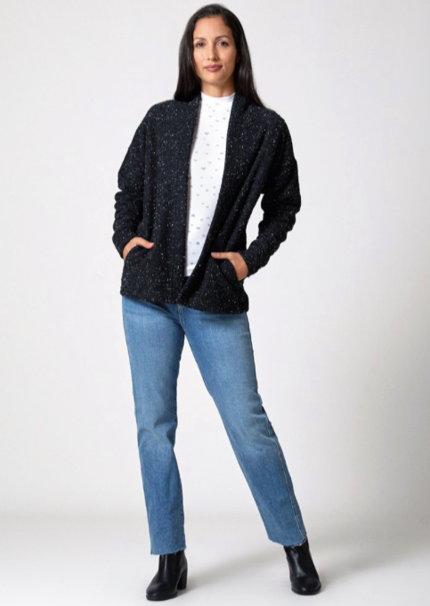 Pebble Knit Cardigan Black