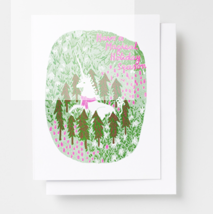 Magical Holiday Unicorn - Risograph Card