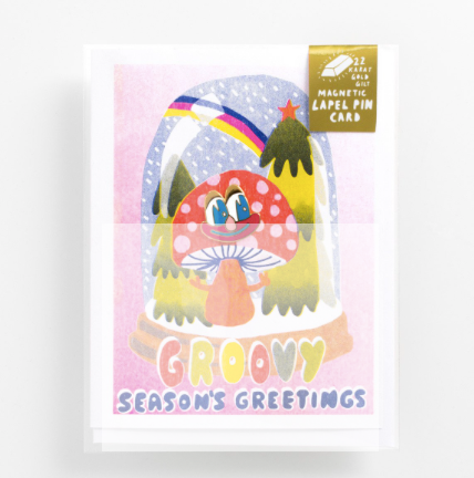 Groovy Season's Greetings - Lapel Pin Card