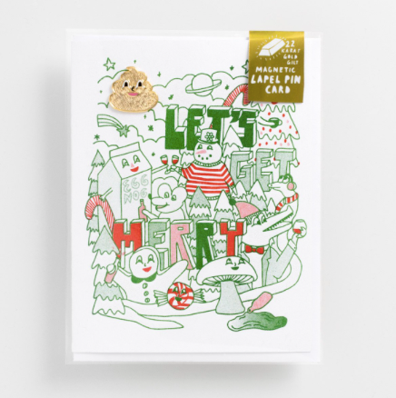 Let's Get Merry - Lapel Pin Card