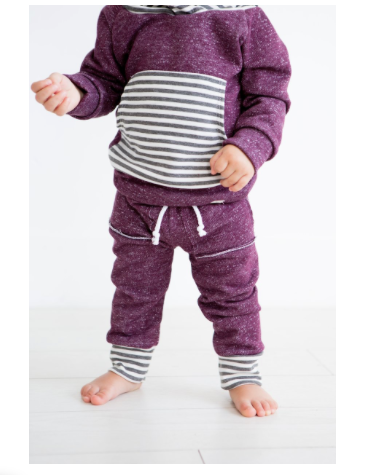 Mulberry and Grey Stripe Baby Sweatpants