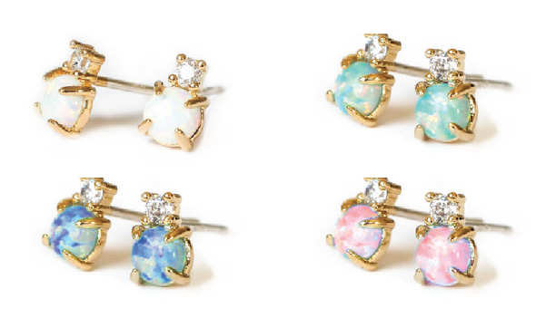 Opal CZ Stud Earrings