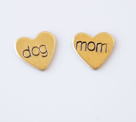 Dog Mom Heart Studs
