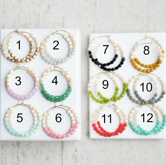 "Colorful ""Dipped"" Beaded Hoops"