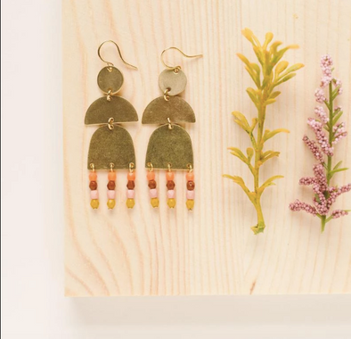 Brass and Bead Orange Fringe Earrings