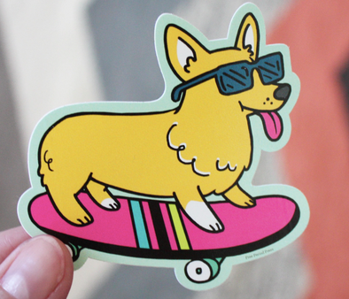 Skateboarding Corgi Sticker