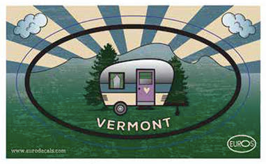 VT Camper Postcard And Sticker
