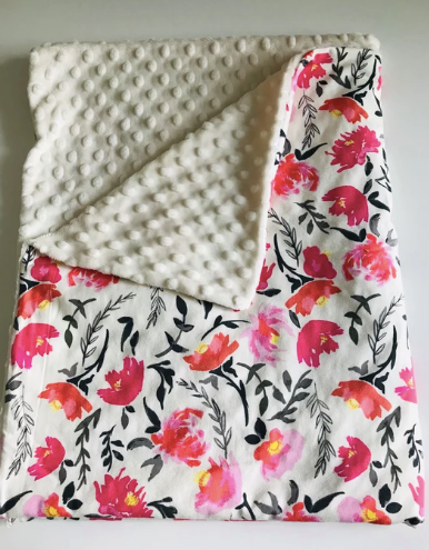 Organic Cotton Jersey + Minky Baby Blanket - Roses and Vines
