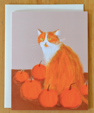 Fall Pumpkin Cat Card