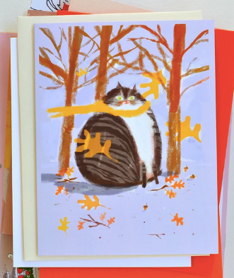 Fall Thinking of You Cat Card