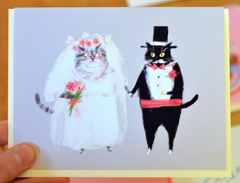 Cat Wedding Bride And Groom Greeting Card