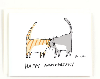 Happy Anniversary Cat Headbutt Greeting Card