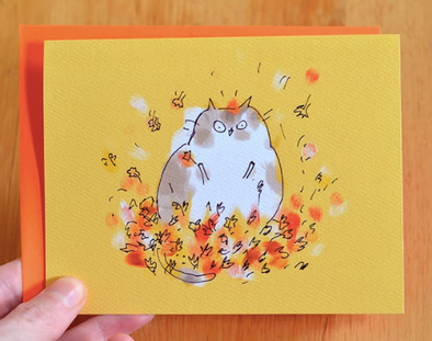 Fall Leaf Lover Cat Card