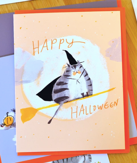 Happy Halloween Broomstick Cat Card