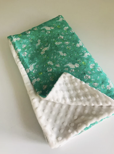 Organic Cotton Jersey + Minky Baby Blanket - Green Blossom