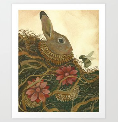 Rabbit and the Bee - Art Print