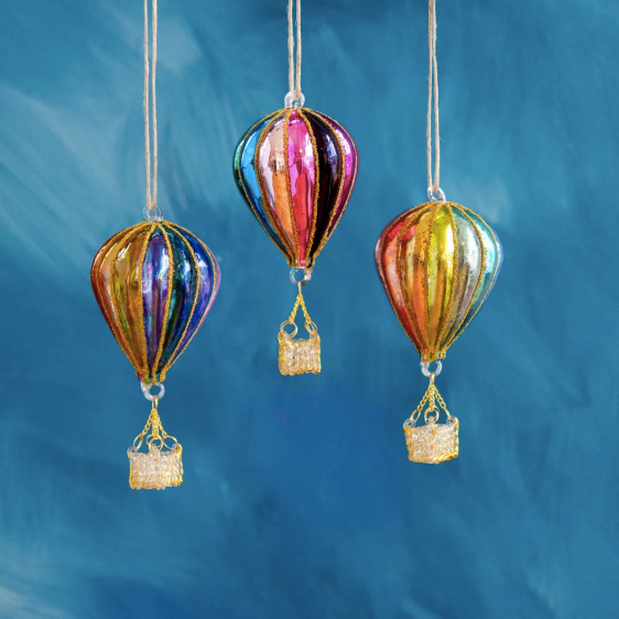 Rainbow Hot Air Balloon Ornament Assorted