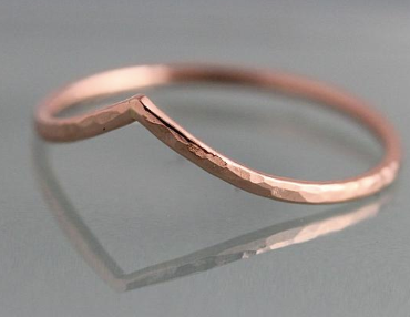 Hammered Chevron Ring - Rose Gold Fill