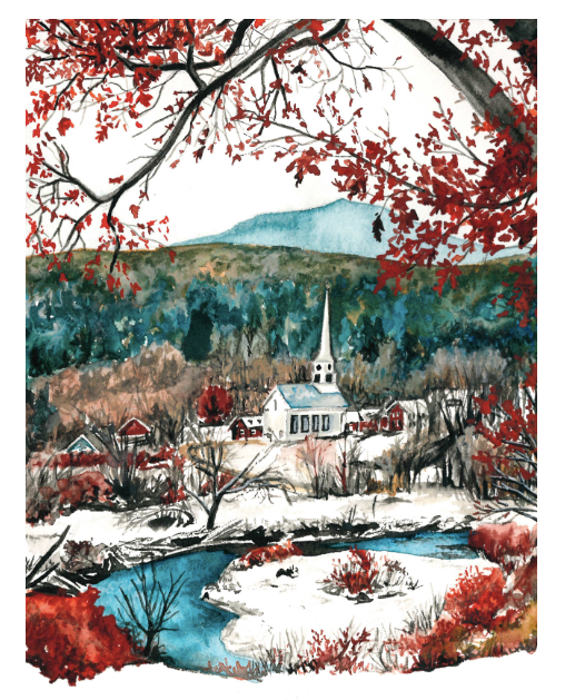 First Snow in Stowe 5x7 Art Print