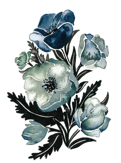 Blue Poppies III 5x7 Art Print