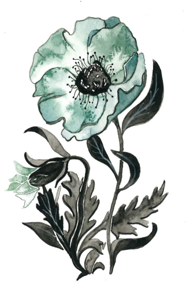 Blue Poppies IV 5x7 Art Print