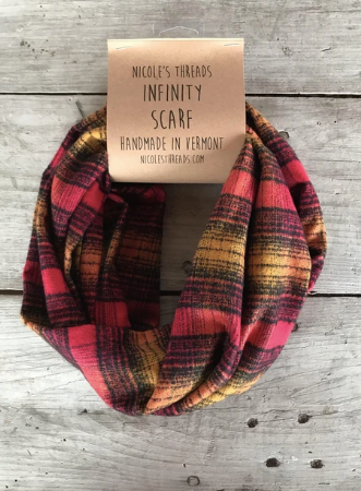 Copy of Plaid Flannel Infinity Scarf - Red, Mustard and Black