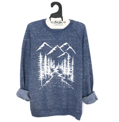 Unisex Navy Speckle Sweatshirt with Mountains
