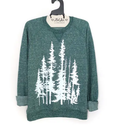 Unisex Forest Speckle Sweatshirt with Evergreen Trees