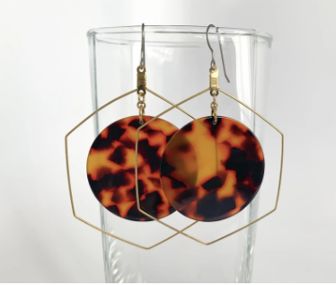 Circle Tortoise Shell Dangle Earrings