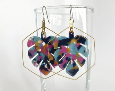 Monstera Tortoise Shell Dangle Earrings