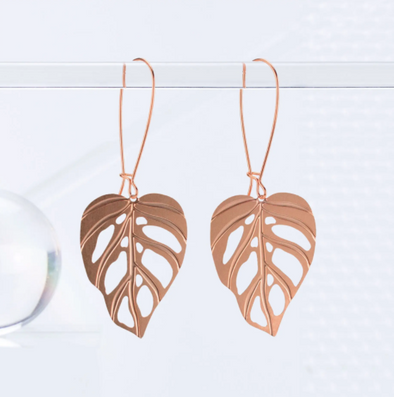 Monstera Adansonii Leaf Earrings