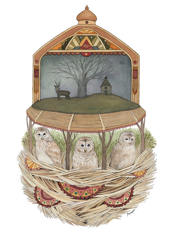 The Owls Convened - Art Print