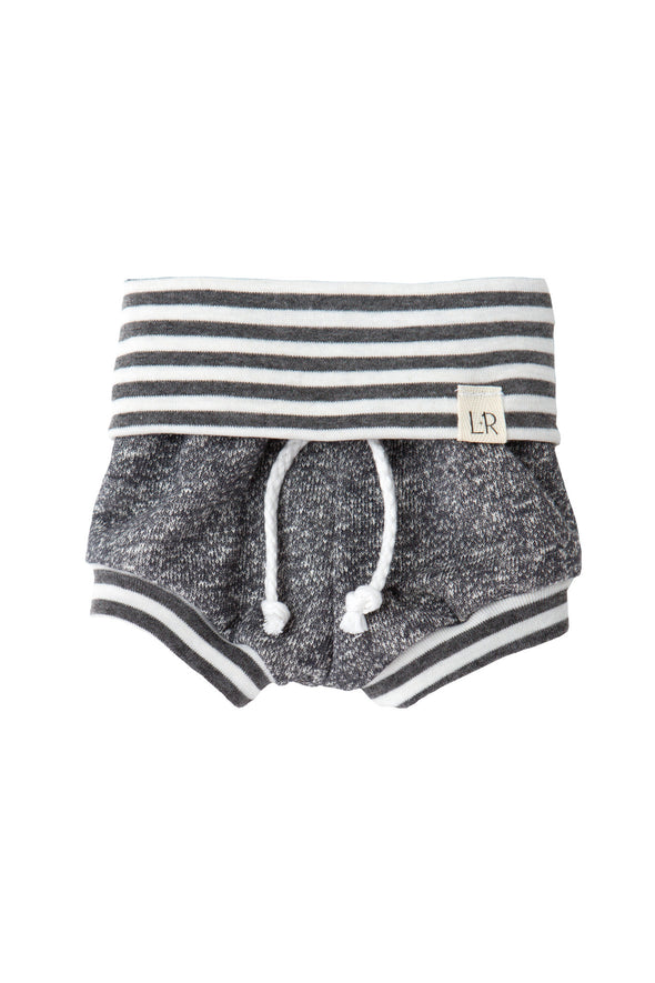 Grey and Grey Stripe Beach Shorties