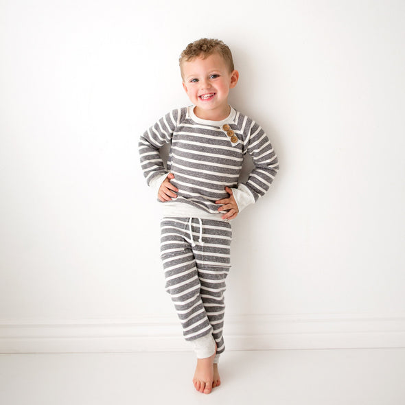 Chunky Grey Stripe Baby Sweatpants