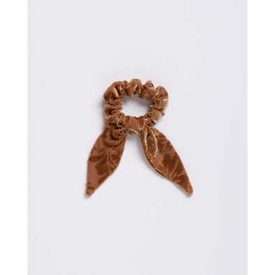 Velvet Burnout Gold Paisley Scrunchie Tie