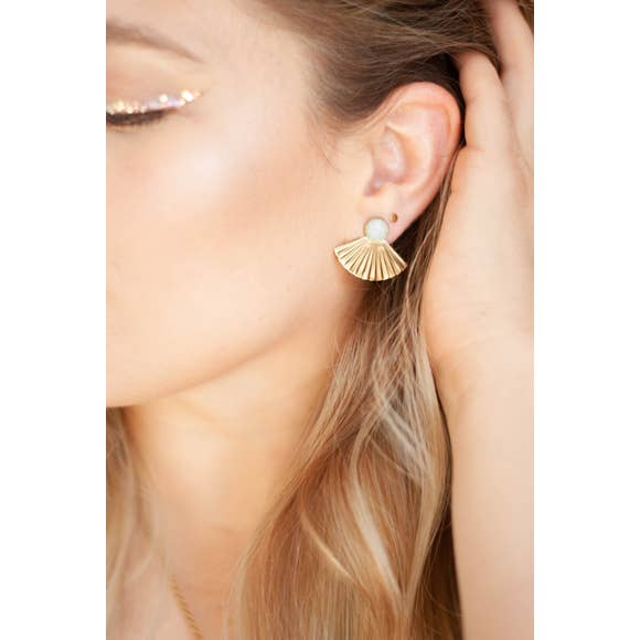 Opal Studs with Pleat Jackets
