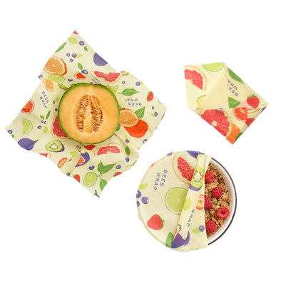 Set of 3 Assorted Plant Based Wraps in Fresh Fruit Bee's Wrap
