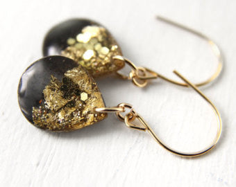 Small Black and Gold Leaf Teardrop Earrings // by Tiny Galaxies - WATERBURY