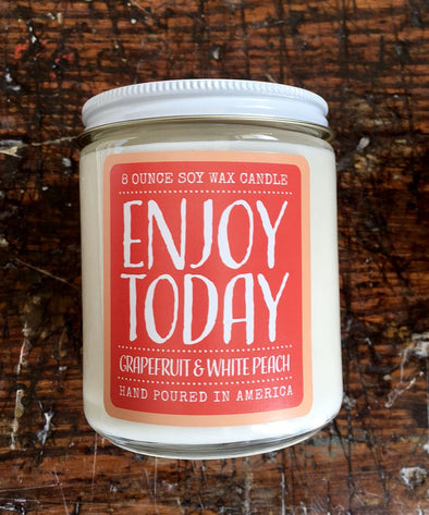 Soy Wax Candle - Grapefruit and White Peach (Enjoy Today)