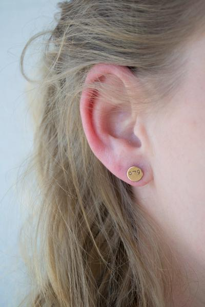 Cat Lady Circle Brass Studs