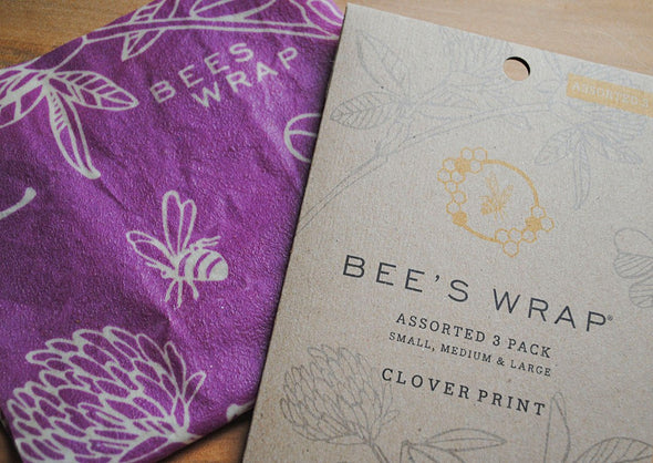 Set of 3 Assorted Wraps, in Clover Print Bee's Wrap