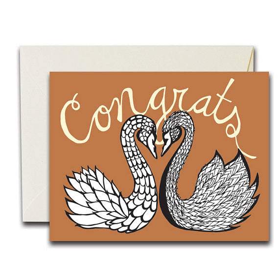 Congrats Swans Greeting Card-Waterbury
