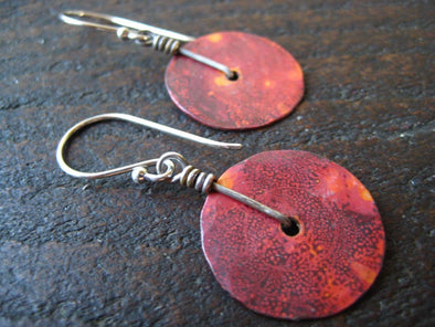 Copper Disk Earrings - extra small