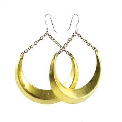 Large Crescent Moon Brass Earrings