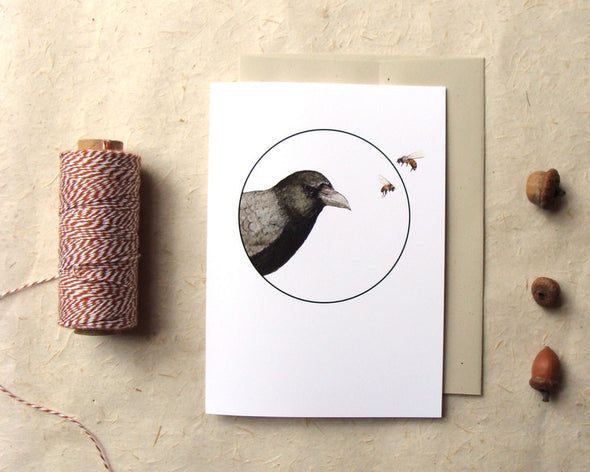 Crow and the Bees - Greeting Card