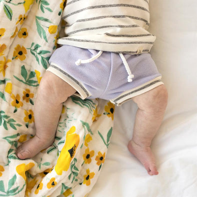 Lavender and Coastal Stripe Beach Shorties