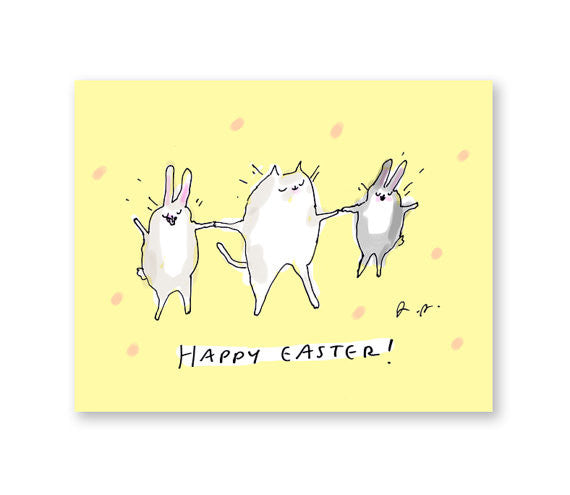Happy Easter! Cat & Bunnies Greeting Card