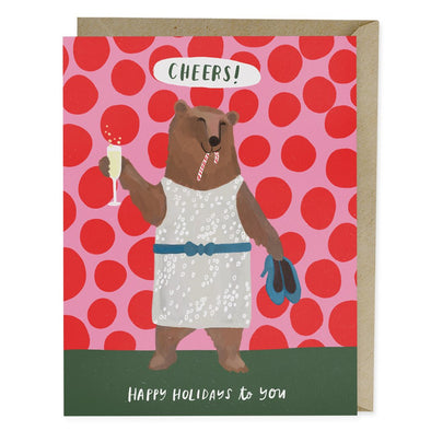 Cheers Bear Holiday Greeting Card